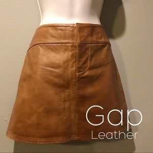 Gap Real Leather Brown Skirt, Size 6